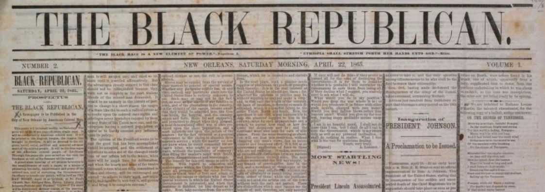 Image of the Black Republican newspaper from 1865